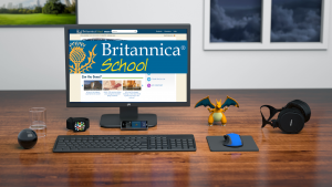 Computer sitting on desk with browser open to Britannica School